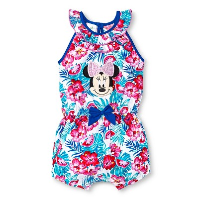 Disney Minnie Mouse Baby Girls' Romper - White 0-3M