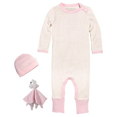 Newborn Girls' Burt's Bees Baby™ Coveral, Hat & Lovey - Pink 0-3M