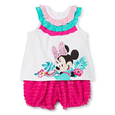 Disney Minnie Mouse Baby Girls' Bubble Shorts Set - White NB