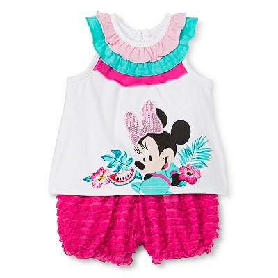 Disney Minnie Mouse Baby Girls' Bubble Shorts Set - White 0-3M