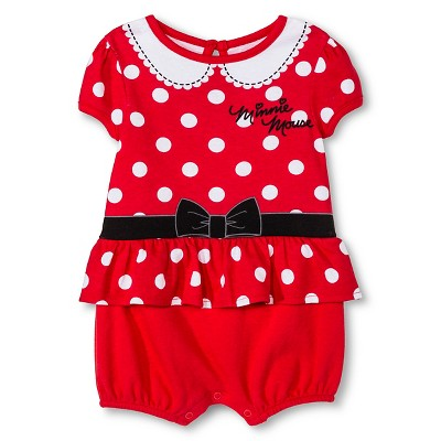 Disney Minnie Mouse Baby Girls' Romper - Red 0-3M