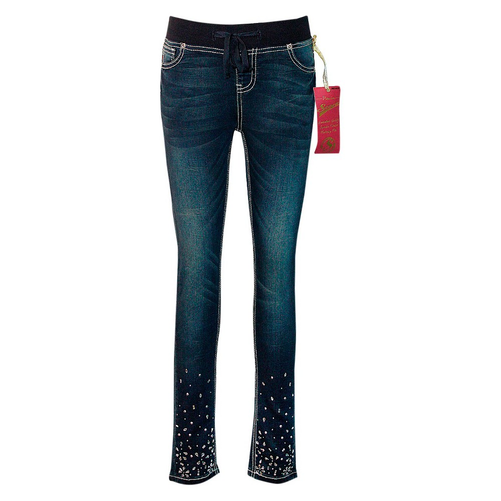 Girls Seven7 Embellished Knit Waist Skinny Jean - Blue 8