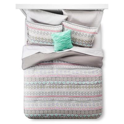 Gray Global Stripe Comforter Set (Full)- Xhilaration™