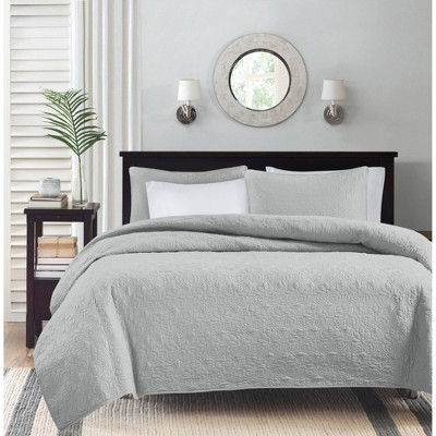 Vancouver Quilted Coverlet Set (Full/Queen)Gray - 3-Piece