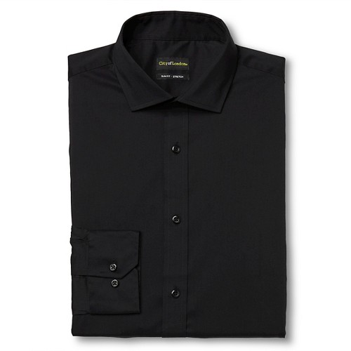 Men's Slim Fit Wrinkle Free Dress Shirt Black - City of London 15.5 / 32-33
