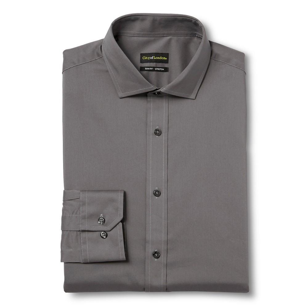 Men's Slim Fit Wrinkle Free Dress Shirt Grey – City of London 15.5 / 32-33
