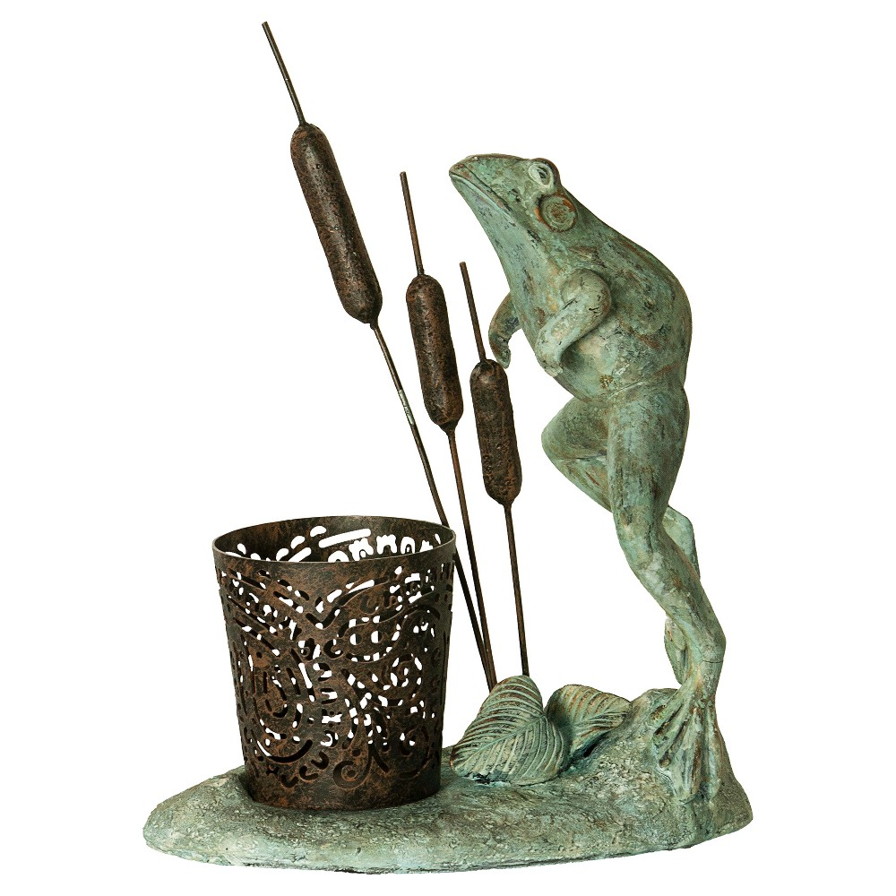 Outdoors Leaping Frog Votive Candle Holder - Bombay, Verdigris