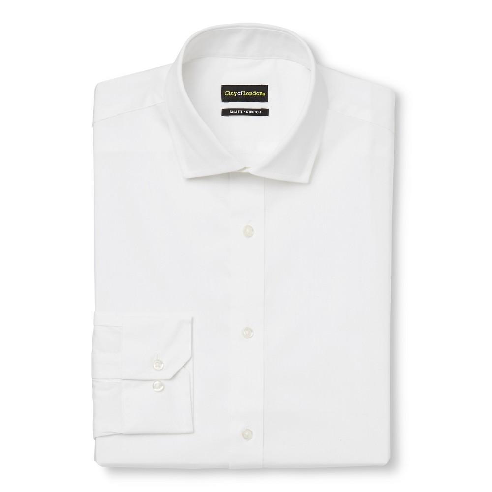 Men's Slim Fit Wrinkle Free Dress Shirt White – City of London 16 / 34-35