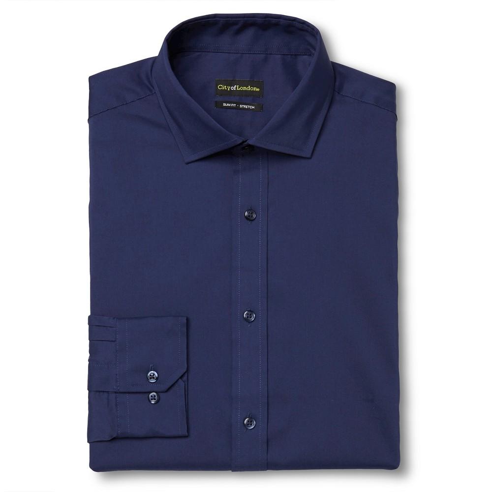 Men's Slim Fit Wrinkle Free Dress Shirt Navy (Blue) – City of London 16.5 / 34-35