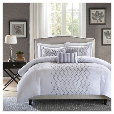 Lydia 6 Piece Duvet Cover Set- Silver (King/ Cal King )