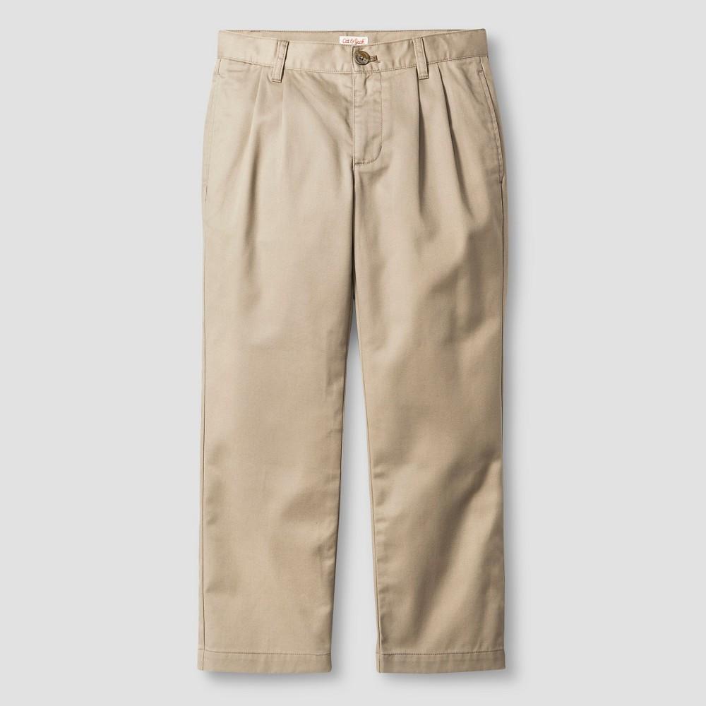 Boys Reinforced Knee Pleated Pants - Cat & Jack Vintage Khaki 10 Husky