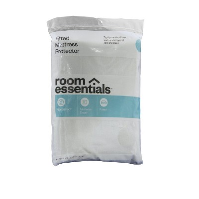 Fitted Mattress Protector White (Twin)- Room Essentials™