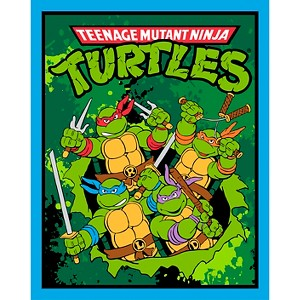 Tmnt Retro Panel, Black, 100% Cotton, 43/44 Width, Fabric by the Yard