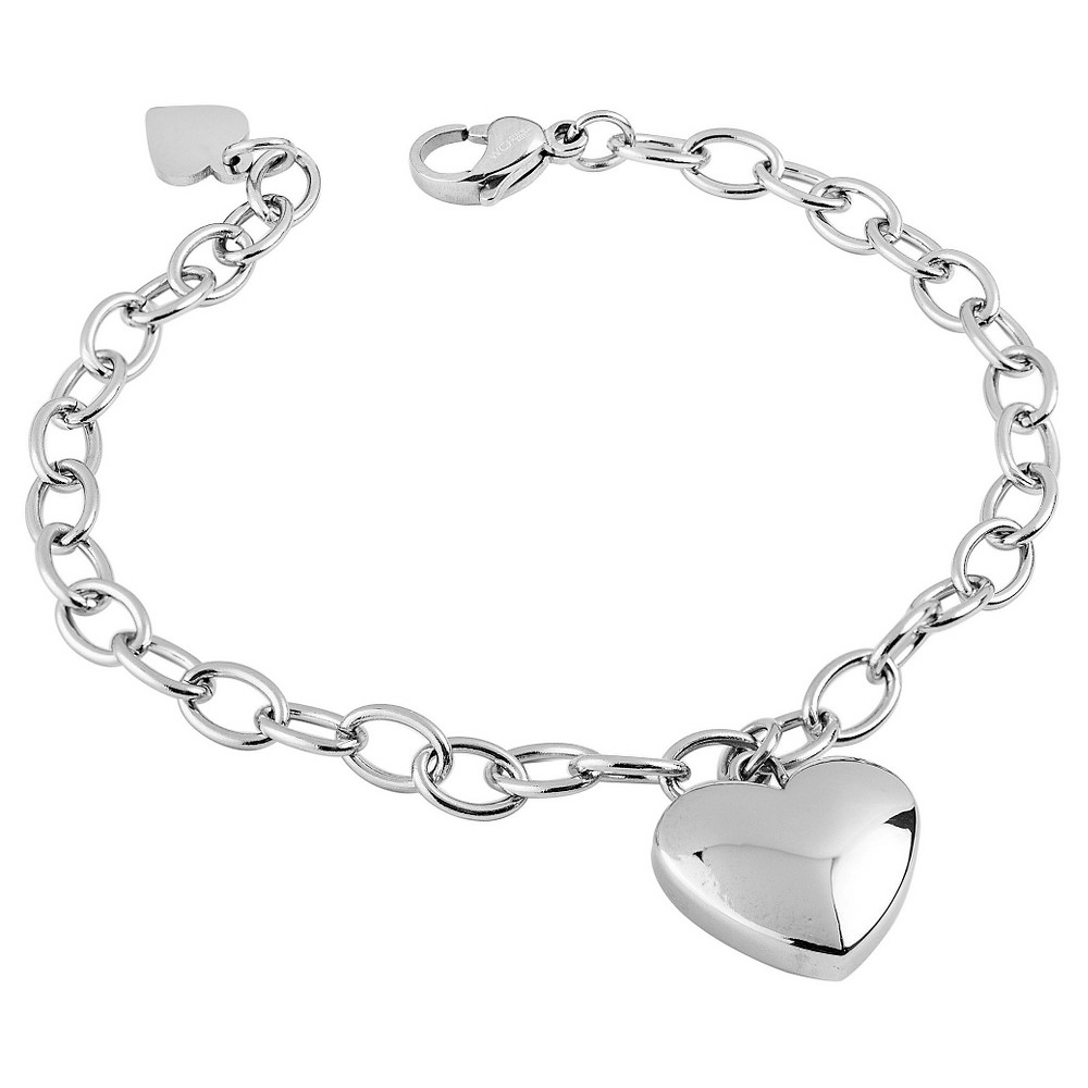 West Coast Jewelry Stainless Steel High Polished Heart Charm Bracelet, Womens, Silver