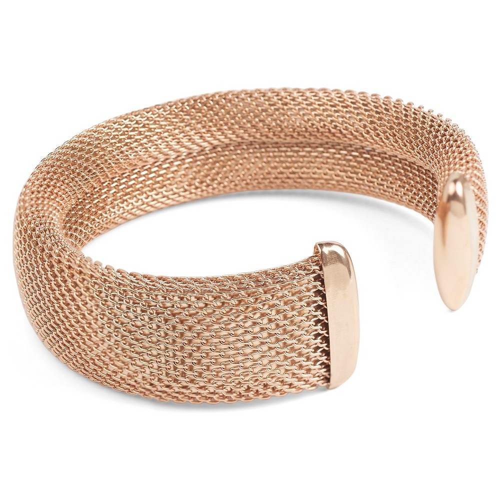 West Coast Jewelry Rose Goldtone Stainless Steel Mesh Cuff Bracelet, Womens, Rose Gold