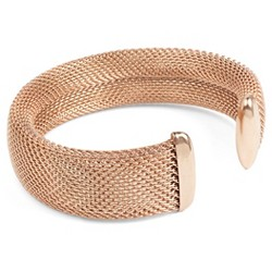 West Coast Jewelry Rose Goldtone Stainless Steel Mesh Cuff Bracelet