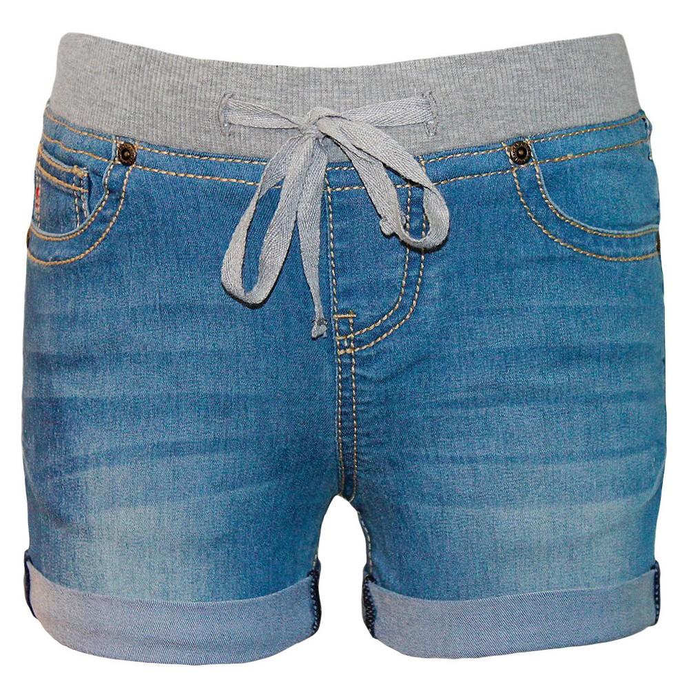 Seven7 Girls' Knit Waist Short – Medium Wash 8, Girl's, Blue
