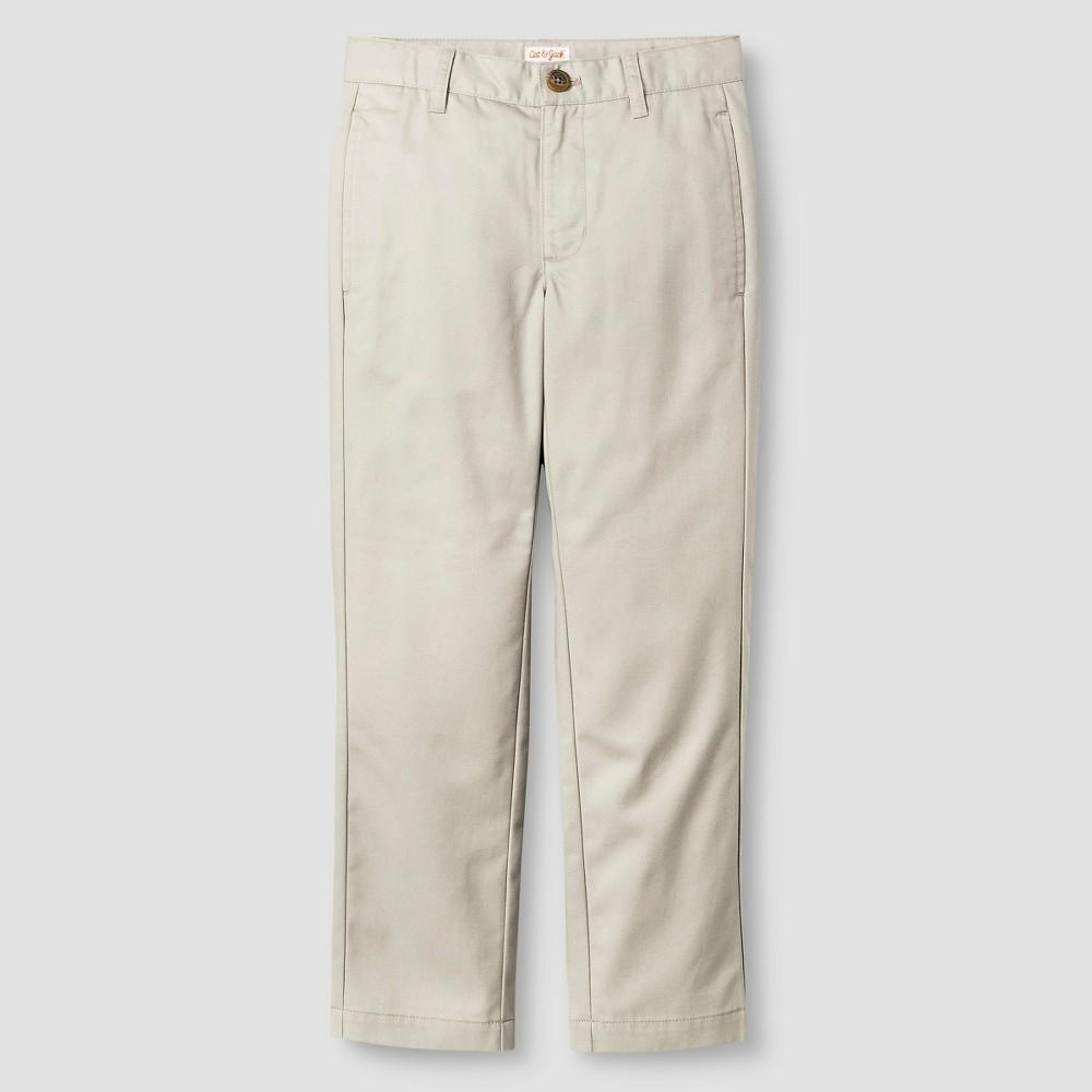 Boys Reinforced Knee Flat Front Pants - Cat & Jack Brown 14 Husky