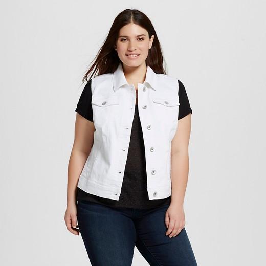 Women's Plus Size Denim Vest White 4x - Merona™ : Target
