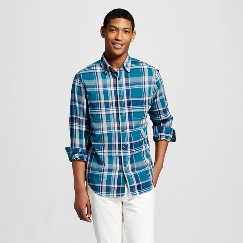 Men's Plaid Button Down Shirt Mossimo Teal - image 1 of 2