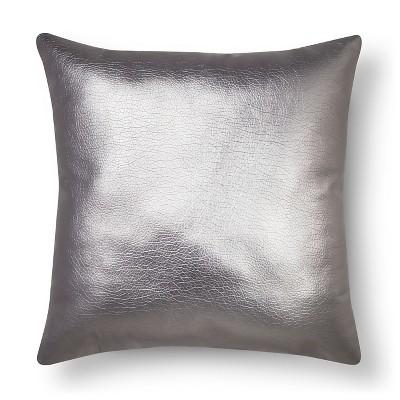 silver metallic faux leather throw pillow xhilaration - Grey Throw Pillows