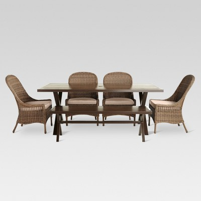Mayhew 6pc All Weather Wicker Dining Set Threshold Target