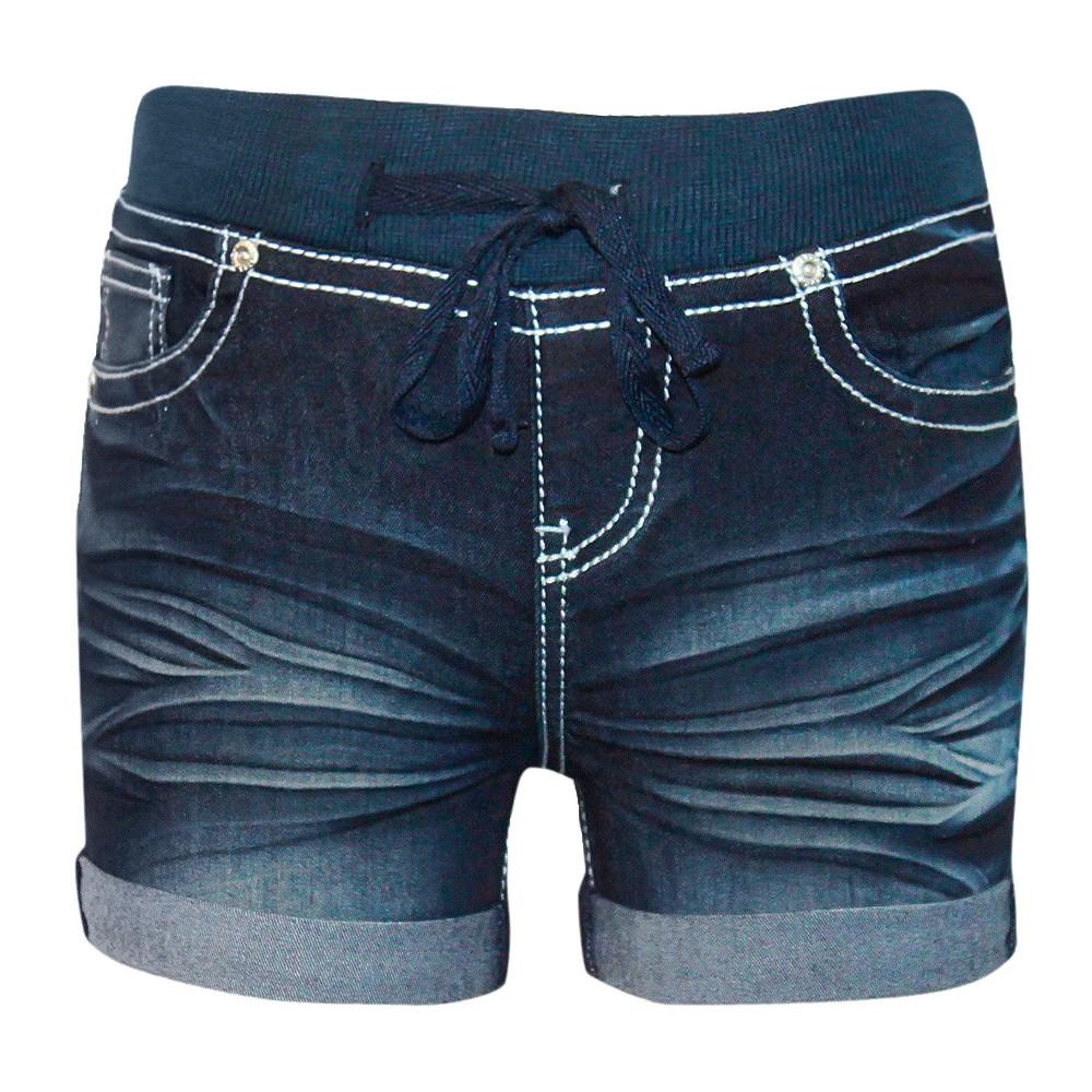 Plus Size Seven7 Girls' Knit Waist Short – Dark Indigo Wash 14 Plus, Women's, Blue