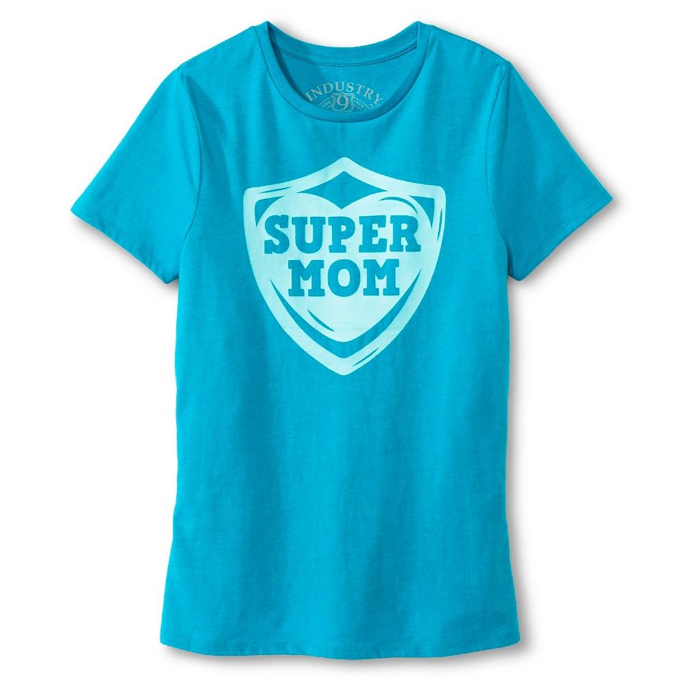 Industry 9 Womens Super Mom T-Shirt - S Aqua, Blue