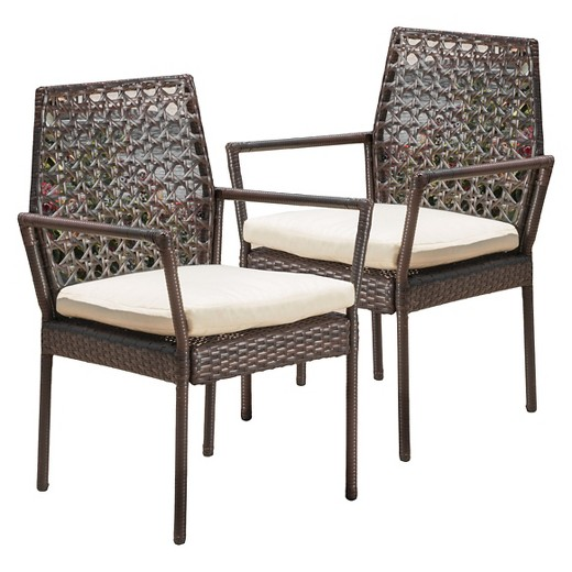 Toledo Set of 2 Wicker Patio Dining Chair with Cushion Brown Christopher K
