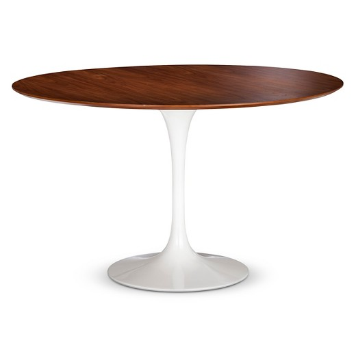 White Round Modern Dining Table catalina modern round dining table - walnut, white : target