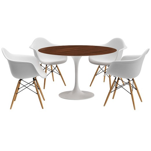 Catalina Modern Round Dining Table Walnut White  Target - Round modern dining table