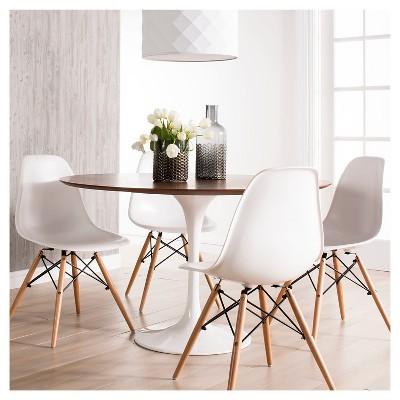 Catalina Modern Round Dining Table   Walnut, White