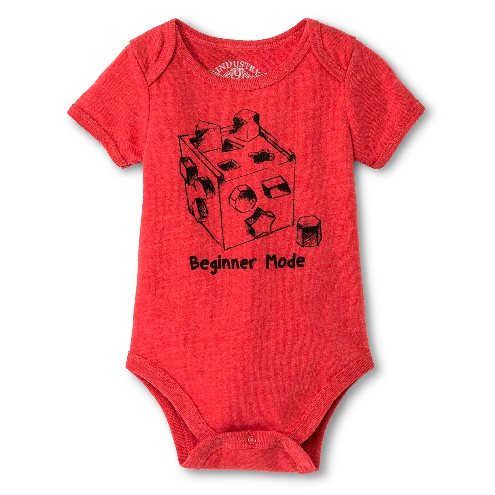 Industry 9 Baby Beginner Mode Bodysuit - 0-3M Red, Infant Boys, Size: 0-3 M