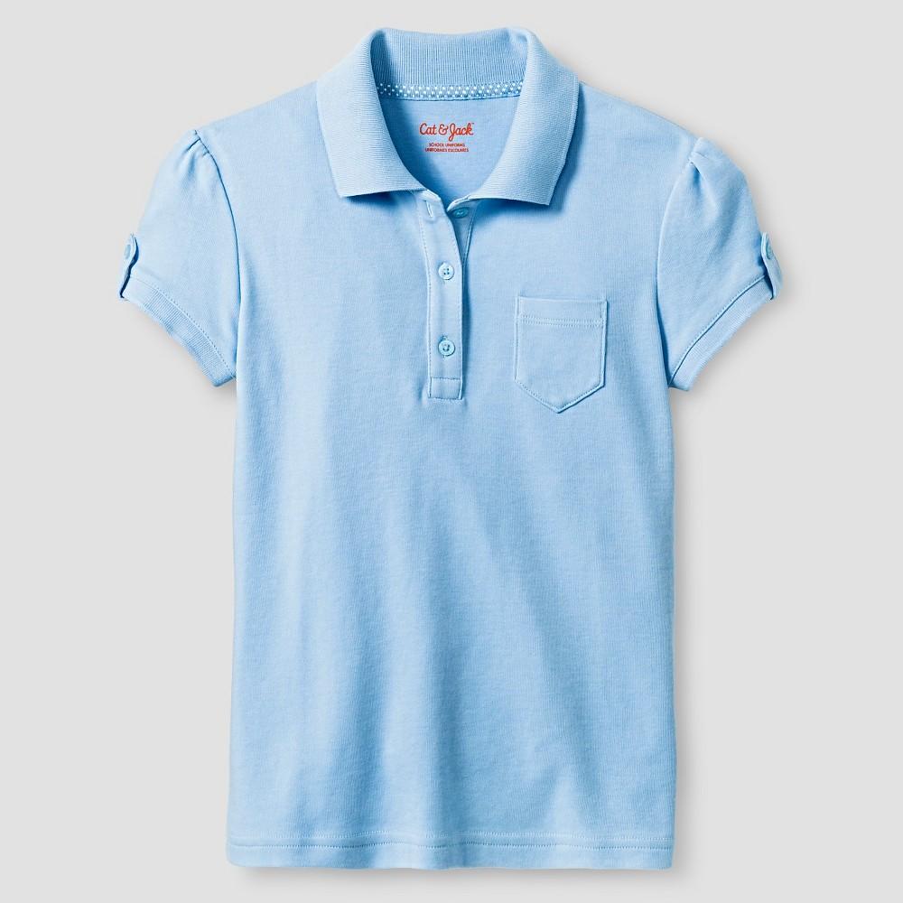 Girls Interlock Polo Shirt - Cat & Jack Windy Blue L