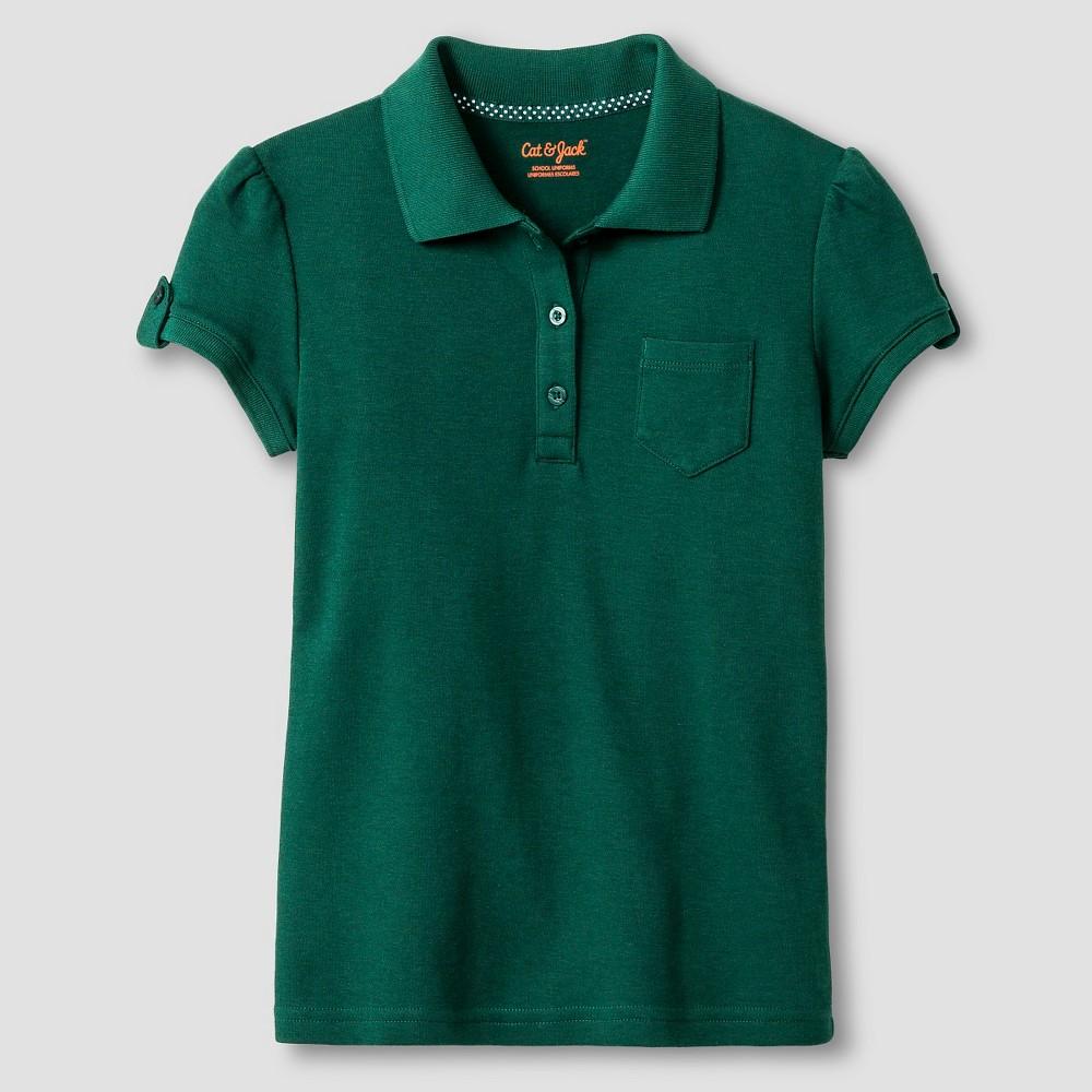 Girls Interlock Polo Shirt - Cat & Jack, Size: Small, Jungle Gym Green
