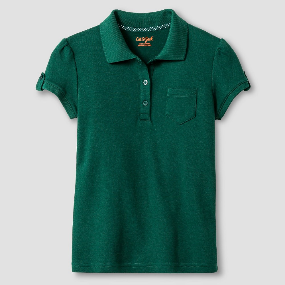 Girls Interlock Polo Shirt - Cat & Jack Green M, Jungle Gym Green