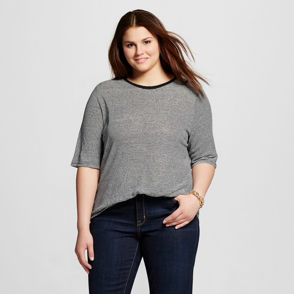 Womens Plus Size Elbow Sleeve Linen T-Shirt Black X - Who What Wear
