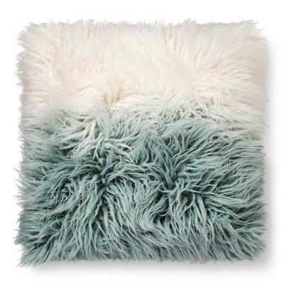 ombre mongolian faux fur decorative pillow blue xhilaration