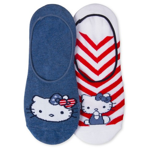 Women's Hello Kitty 2-Pack Liner Socks - Red/White/Blue One Size - image 1 of 1
