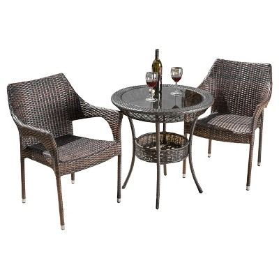 mirage 3pc wicker patio bistro set brown christopher knight home
