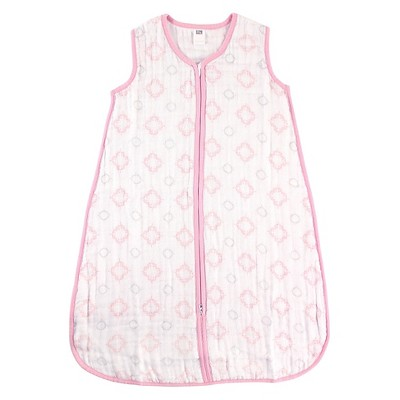Hudson Baby Muslin Sleeping Bag - Pink Damask - 0-6 M