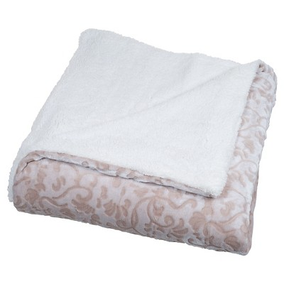 Yorkshire Home Botanical Etched Fleece Blanket with Sherpa - Beige (Full/Queen)