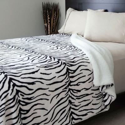 Yorkshire Home Fleece Blanket Sherpa Backing - Zebra Pattern (Full/Queen)