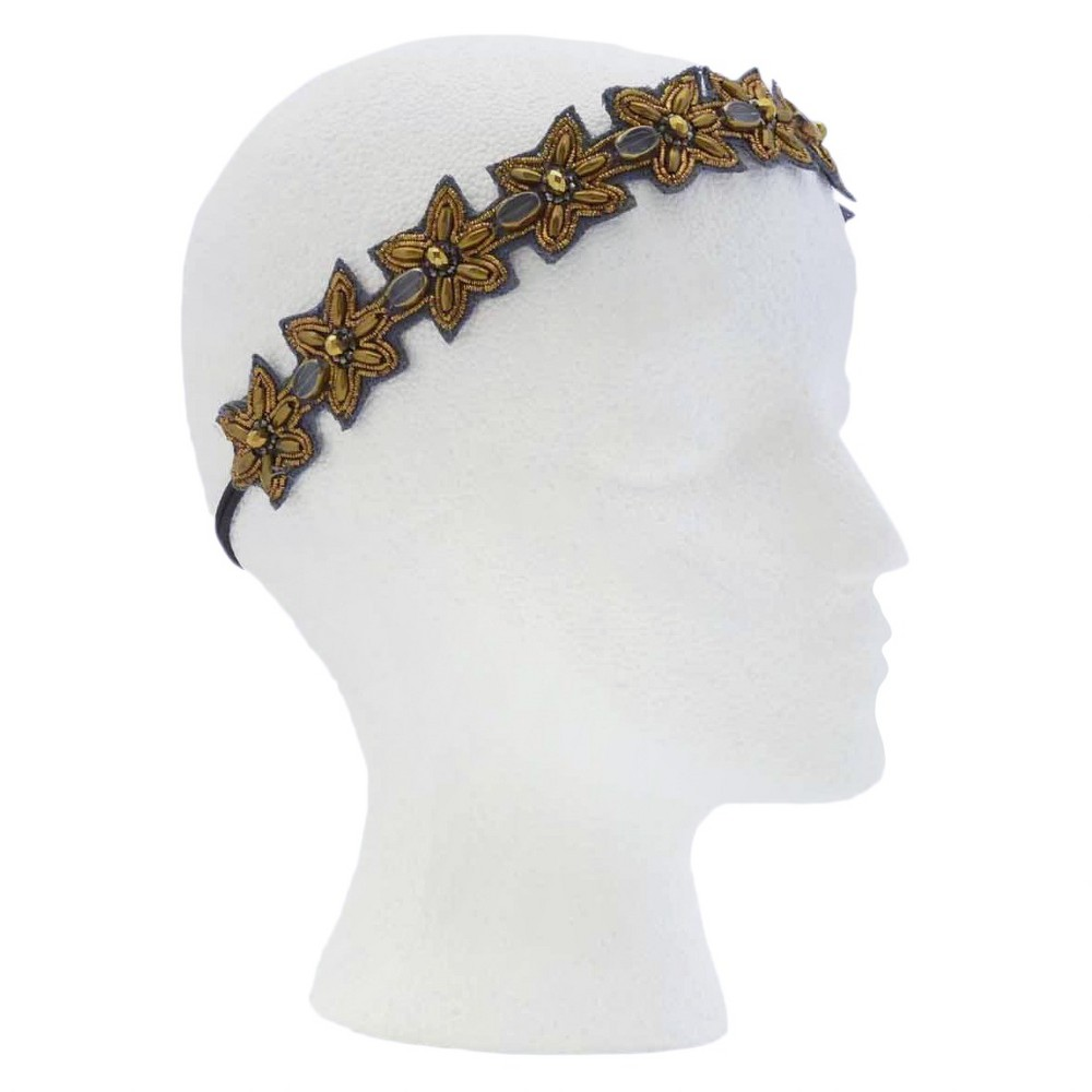 Pink Pewter Bronze Stretch Headband, Womens