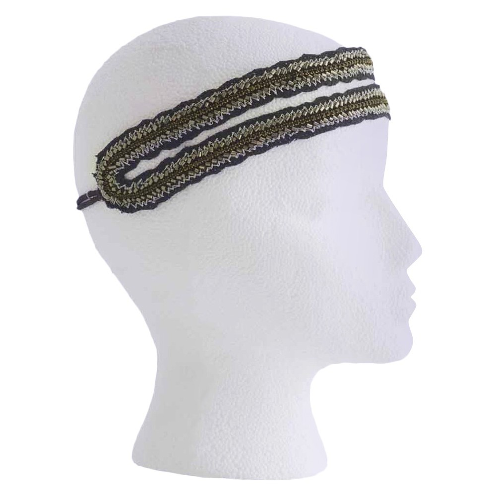 Pink Pewter Black Stretch Headband, Womens