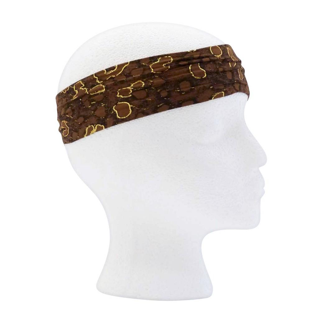 Pink Pewter Brown Leopard Microfiber Yoga Headband, Womens
