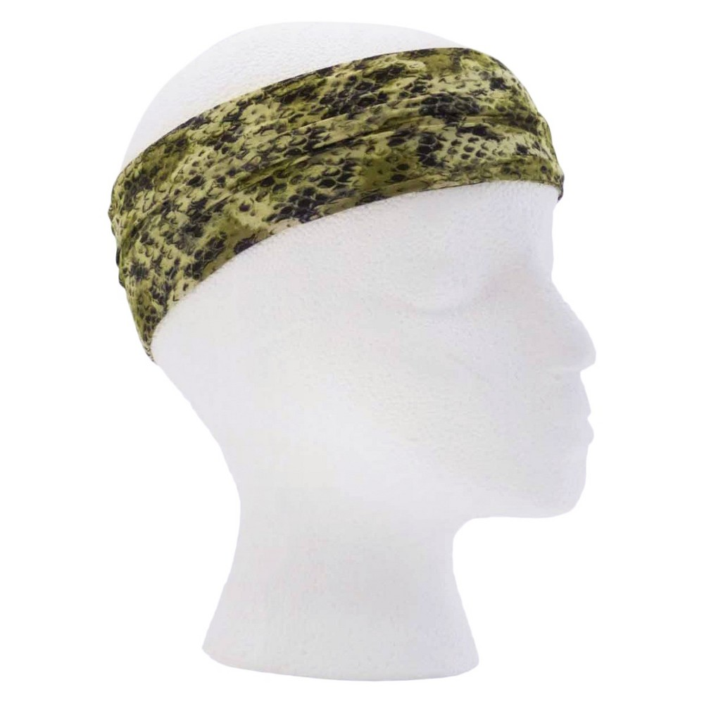 Pink Pewter Green Snake Microfiber Yoga Headband, Womens