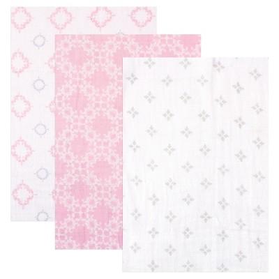 Hudson Baby Muslin Swaddle Blanket - 3pk - Pink Damask