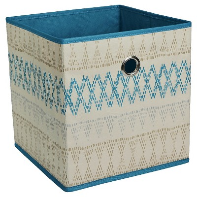 Fabric Cube Storage Bin 11  - Sand Blue Pattern - Room Essentials™