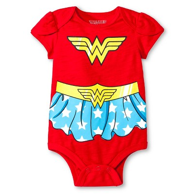 Baby Girls' Wonder Woman Bodysuit - Red 6-9M